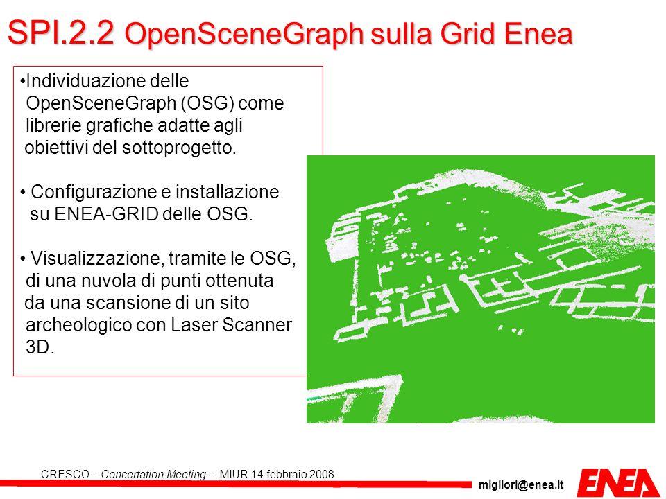 migliori@enea.it CRESCO – Concertation Meeting – MIUR 14 febbraio 2008 SPI.2.2 OpenSceneGraph sulla Grid Enea Individuazione delle OpenSceneGraph (OSG