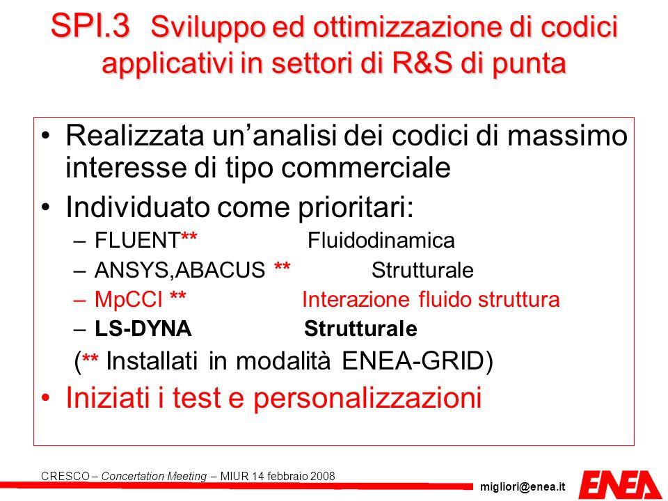 migliori@enea.it CRESCO – Concertation Meeting – MIUR 14 febbraio 2008 SPI.3 Sviluppo ed ottimizzazione di codici applicativi in settori di R&S di pun