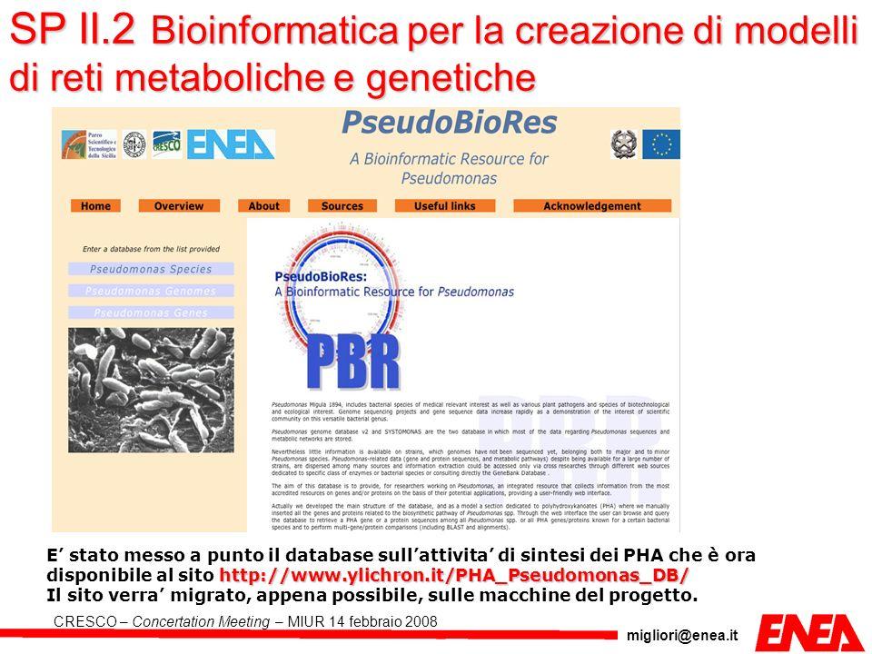 migliori@enea.it CRESCO – Concertation Meeting – MIUR 14 febbraio 2008 SP II.2 Bioinformatica per la creazione di modelli di reti metaboliche e geneti