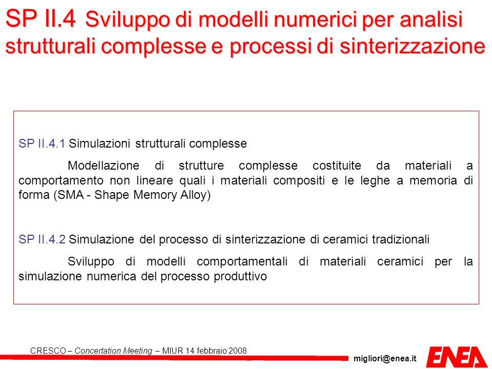 migliori@enea.it CRESCO – Concertation Meeting – MIUR 14 febbraio 2008 SP II.4.1 Simulazioni strutturali complesse Modellazione di strutture complesse