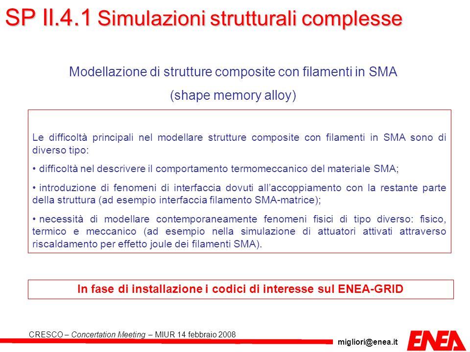 migliori@enea.it CRESCO – Concertation Meeting – MIUR 14 febbraio 2008 Modellazione di strutture composite con filamenti in SMA (shape memory alloy) L