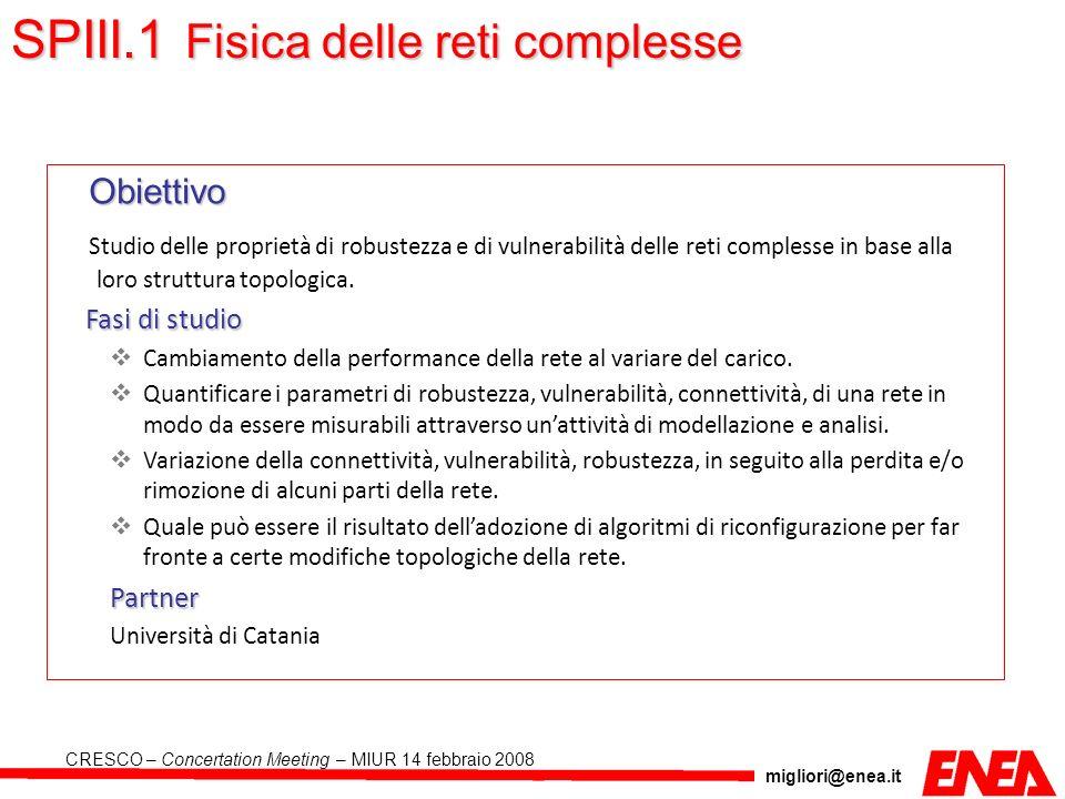 migliori@enea.it CRESCO – Concertation Meeting – MIUR 14 febbraio 2008 Obiettivo Studio delle proprietà di robustezza e di vulnerabilità delle reti co