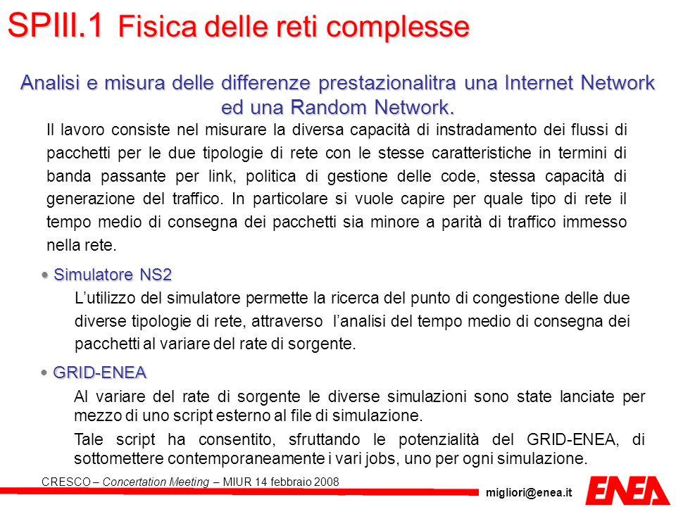 migliori@enea.it CRESCO – Concertation Meeting – MIUR 14 febbraio 2008 GRID-ENEA Al variare del rate di sorgente le diverse simulazioni sono state lan
