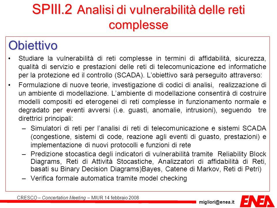migliori@enea.it CRESCO – Concertation Meeting – MIUR 14 febbraio 2008 SPIII.2 Analisi di vulnerabilità delle reti complesse Obiettivo Studiare la vul