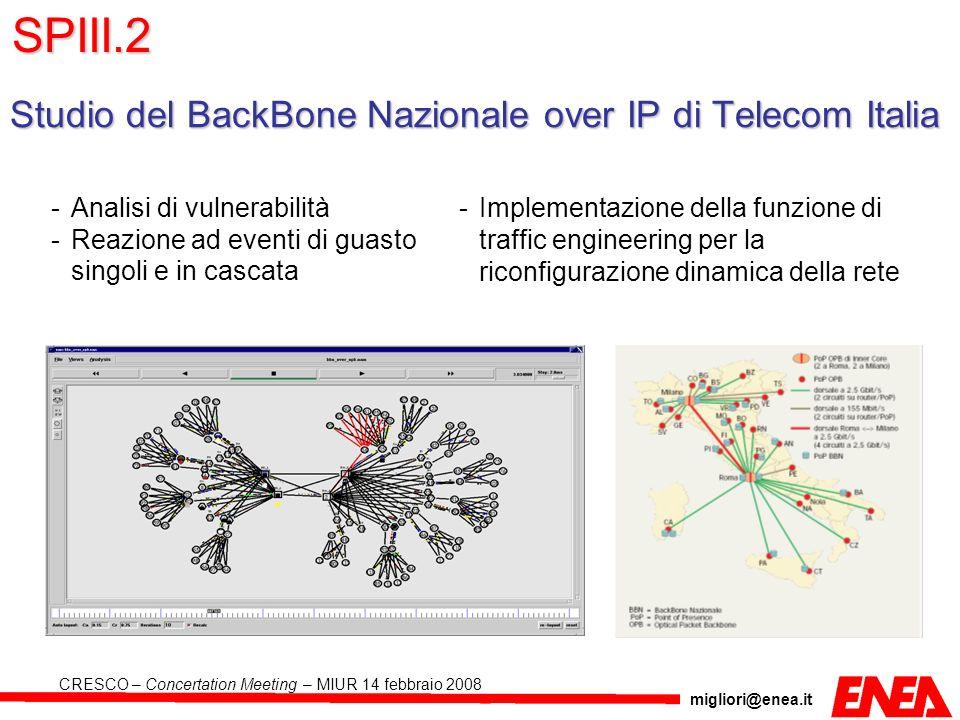 migliori@enea.it CRESCO – Concertation Meeting – MIUR 14 febbraio 2008 Studio del BackBone Nazionale over IP di Telecom Italia -Analisi di vulnerabili