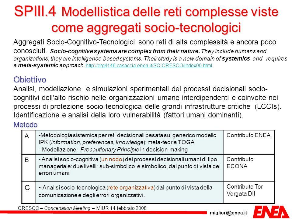 migliori@enea.it CRESCO – Concertation Meeting – MIUR 14 febbraio 2008 SPIII.4 Modellistica delle reti complesse viste come aggregati socio-tecnologic