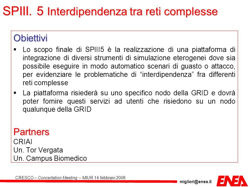 migliori@enea.it CRESCO – Concertation Meeting – MIUR 14 febbraio 2008 Obiettivi Lo scopo finale di SPIII5 è la realizzazione di una piattaforma di in