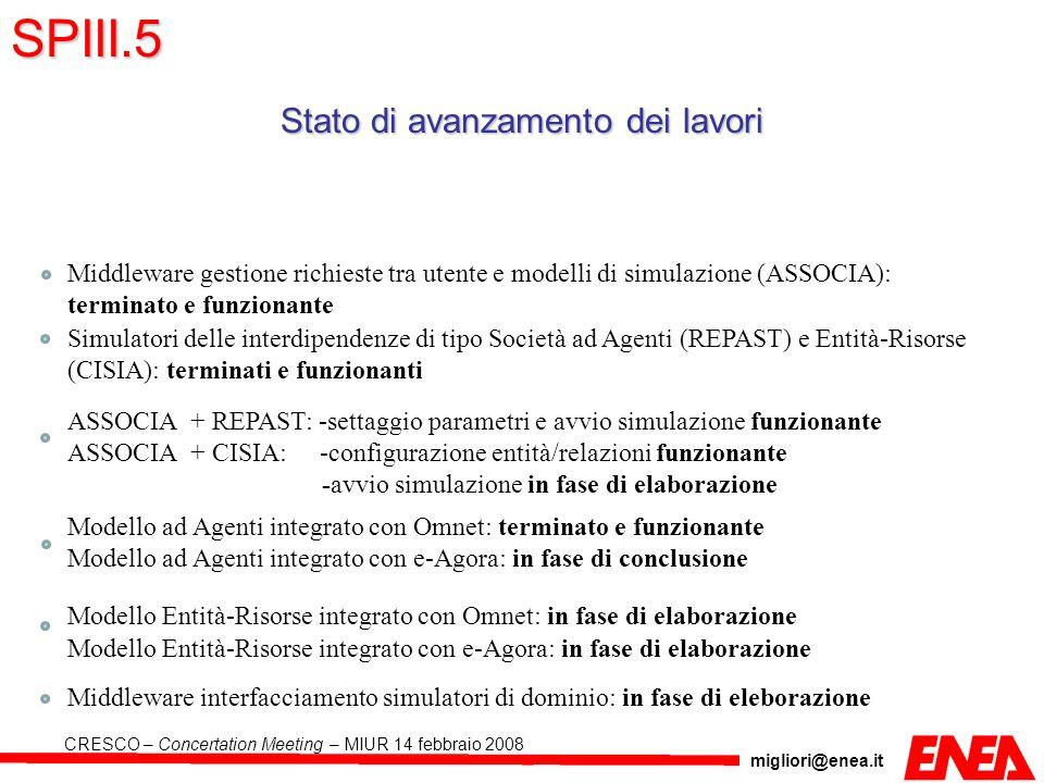 migliori@enea.it CRESCO – Concertation Meeting – MIUR 14 febbraio 2008 Stato di avanzamento dei lavori Middleware gestione richieste tra utente e mode