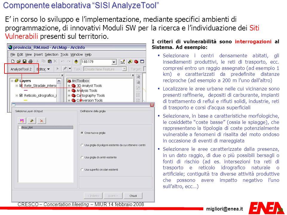 migliori@enea.it CRESCO – Concertation Meeting – MIUR 14 febbraio 2008 59 Componente elaborativa SISI AnalyzeTool E in corso lo sviluppo e limplementa