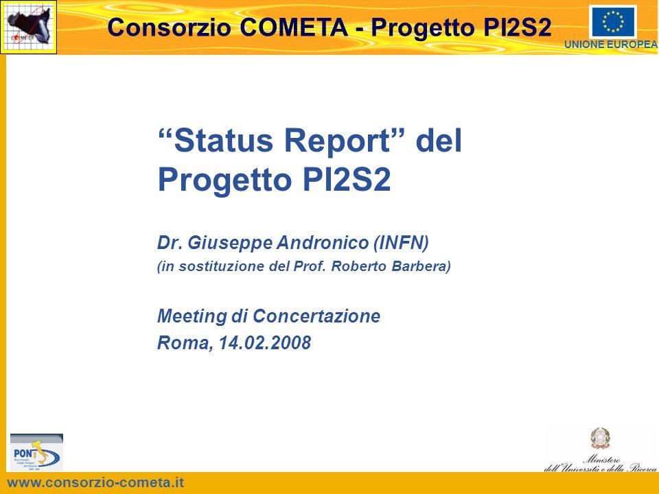 www.consorzio-cometa.it Consorzio COMETA - Progetto PI2S2 UNIONE EUROPEA Status Report del Progetto PI2S2 Dr.