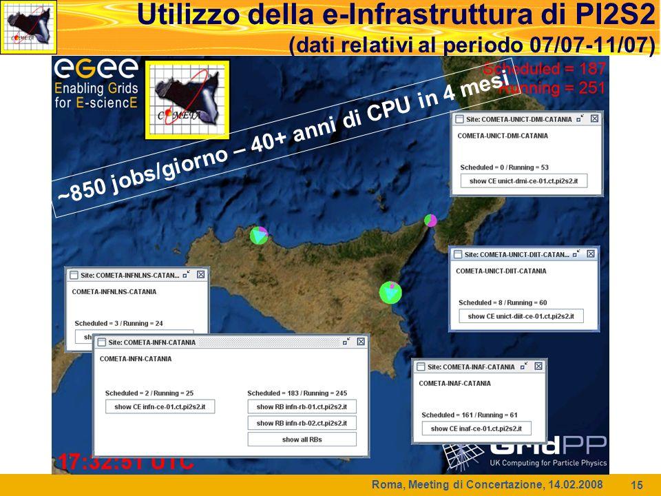 Roma, Meeting di Concertazione, 14.02.2008 15 Utilizzo della e-Infrastruttura di PI2S2 (dati relativi al periodo 07/07-11/07) ~850 jobs/giorno – 40+ anni di CPU in 4 mesi