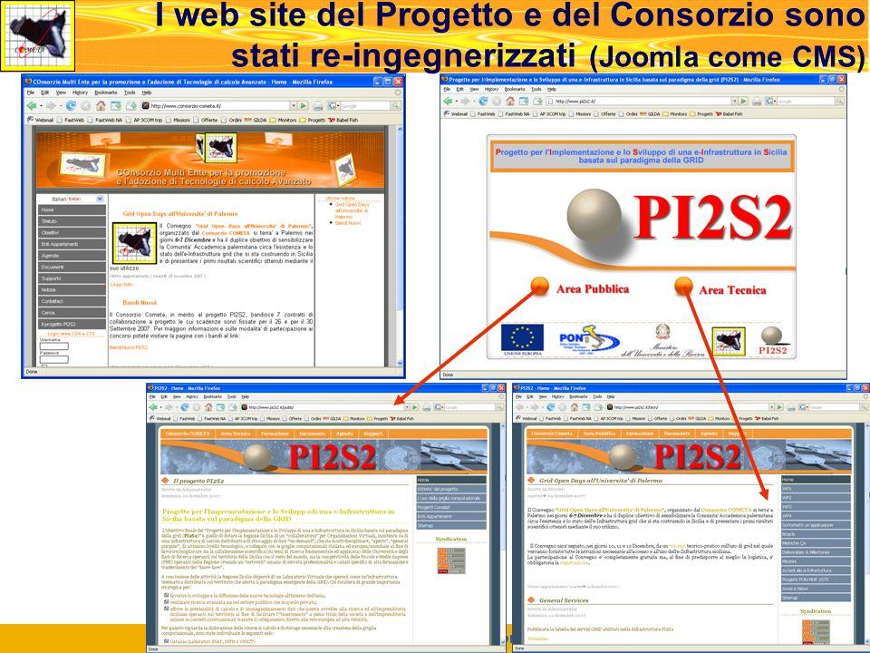 Roma, Meeting di Concertazione, 14.02.2008 24 I web site del Progetto e del Consorzio sono stati re-ingegnerizzati (Joomla come CMS)