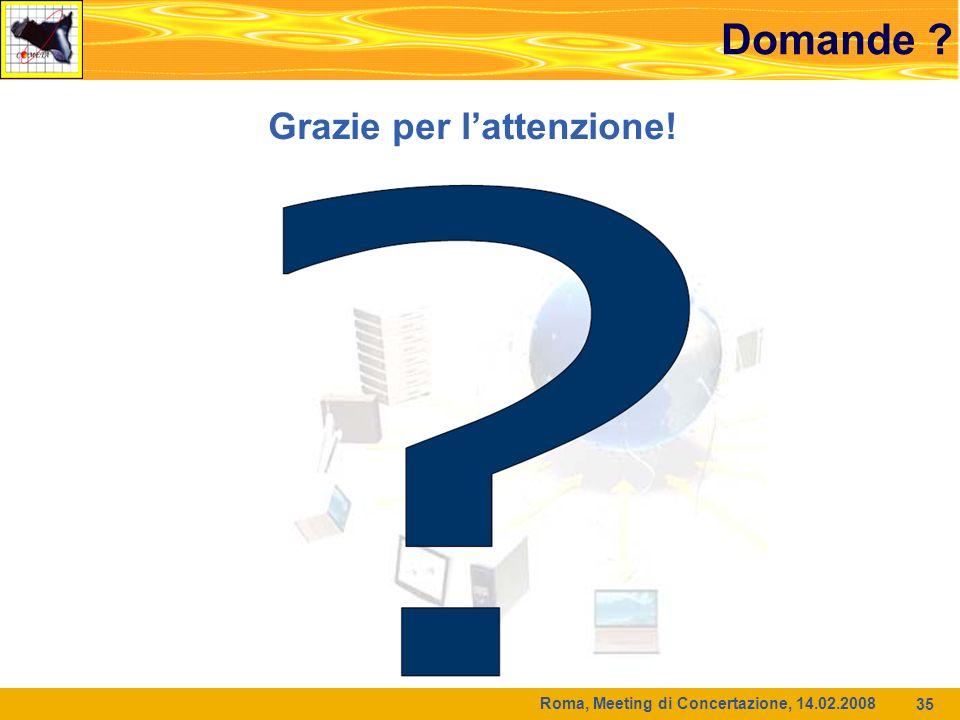 Roma, Meeting di Concertazione, 14.02.2008 35 Domande Grazie per lattenzione!