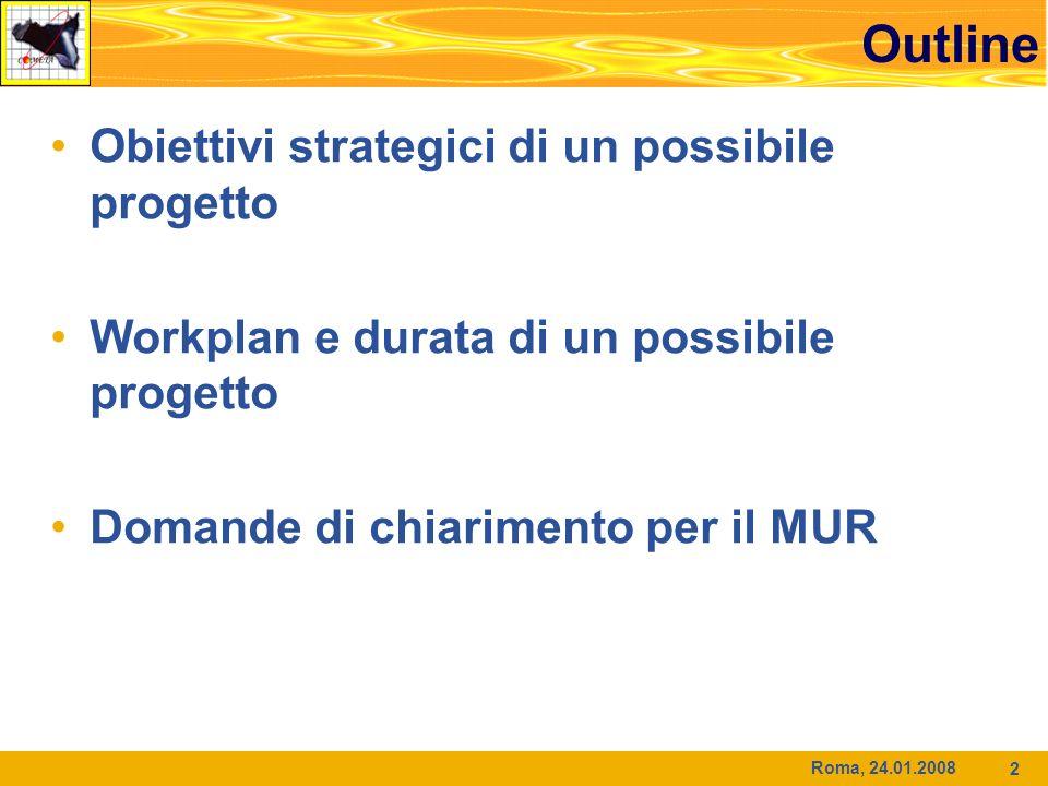 2 Outline Obiettivi strategici di un possibile progetto Workplan e durata di un possibile progetto Domande di chiarimento per il MUR