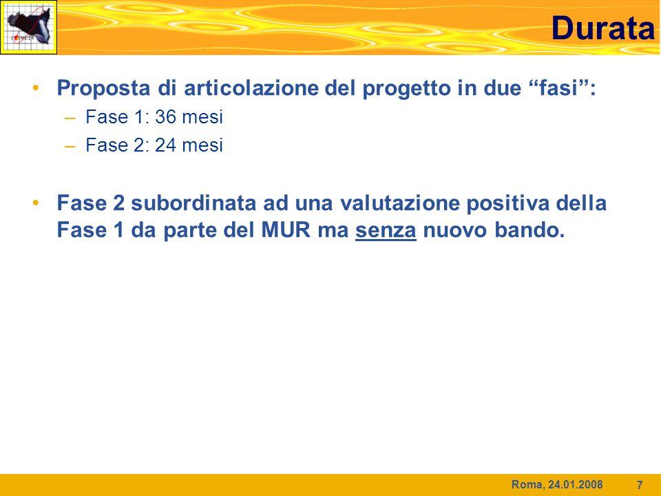 Roma, 24.01.2008 7 Durata Proposta di articolazione del progetto in due fasi: –Fase 1: 36 mesi –Fase 2: 24 mesi Fase 2 subordinata ad una valutazione