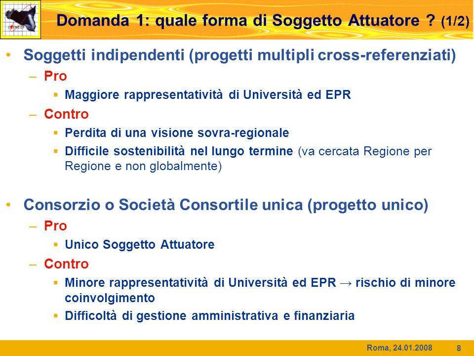 Roma, 24.01.2008 8 Domanda 1: quale forma di Soggetto Attuatore ? (1/2) Soggetti indipendenti (progetti multipli cross-referenziati) –Pro Maggiore rap