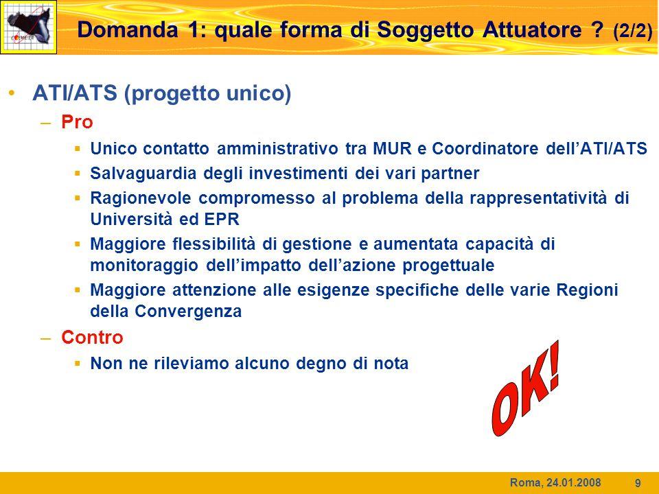 Roma, 24.01.2008 9 ATI/ATS (progetto unico) –Pro Unico contatto amministrativo tra MUR e Coordinatore dellATI/ATS Salvaguardia degli investimenti dei