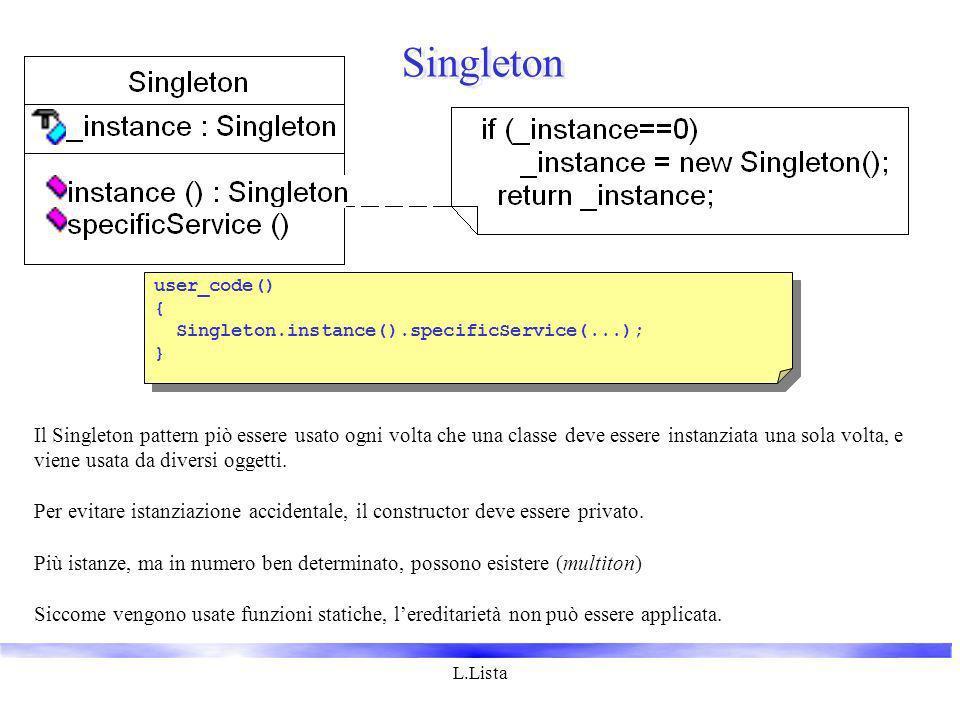 L.Lista Singleton Il Singleton pattern piò essere usato ogni volta che una classe deve essere instanziata una sola volta, e viene usata da diversi oggetti.