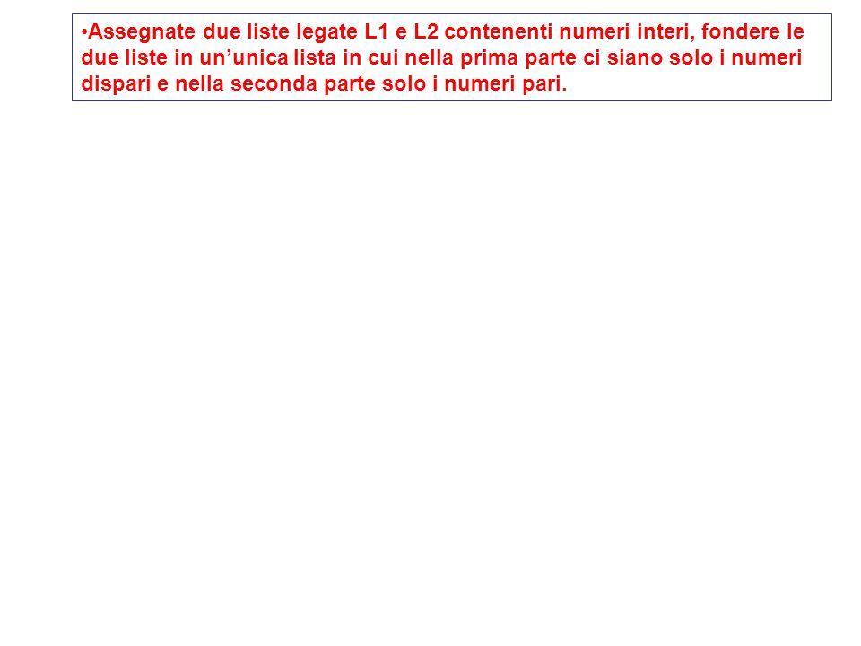 void Sposta(Pnodo &plett, Pnodo &prec,Pnodo &TL) { // se dispari lo metto in testa, se pari lo lascio stare if ((plett->info)%2!=0) { prec->next=plett->next; plett->next=TL; TL=plett; plett=prec->next; cout<< <<endl; } else { prec=plett; plett=plett->next; } return; } Assegnate due liste legate L1 e L2 contenenti numeri interi, fondere le due liste in ununica lista in cui nella prima parte ci siano solo i numeri dispari e nella seconda parte solo i numeri pari.