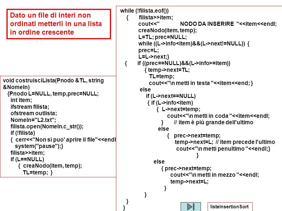void costruisciLista(Pnodo &TL, string &NomeIn) {Pnodo L=NULL, temp,prec=NULL; int item; ifstream filista; ofstream outlista; NomeIn=