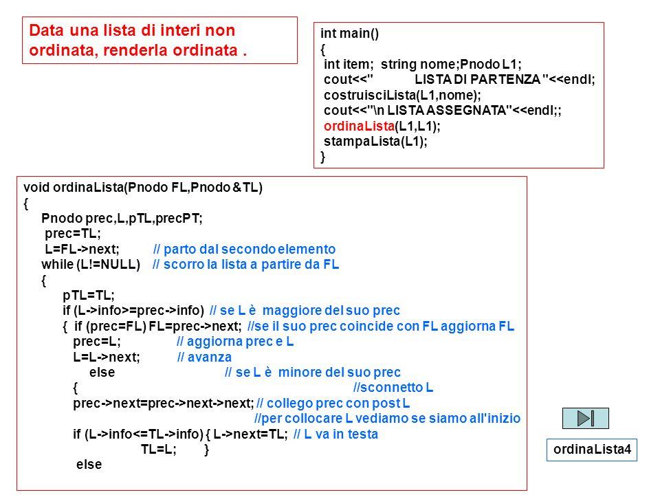 Data una lista di interi non ordinata, renderla ordinata. int main() { int item; string nome;Pnodo L1; cout<<