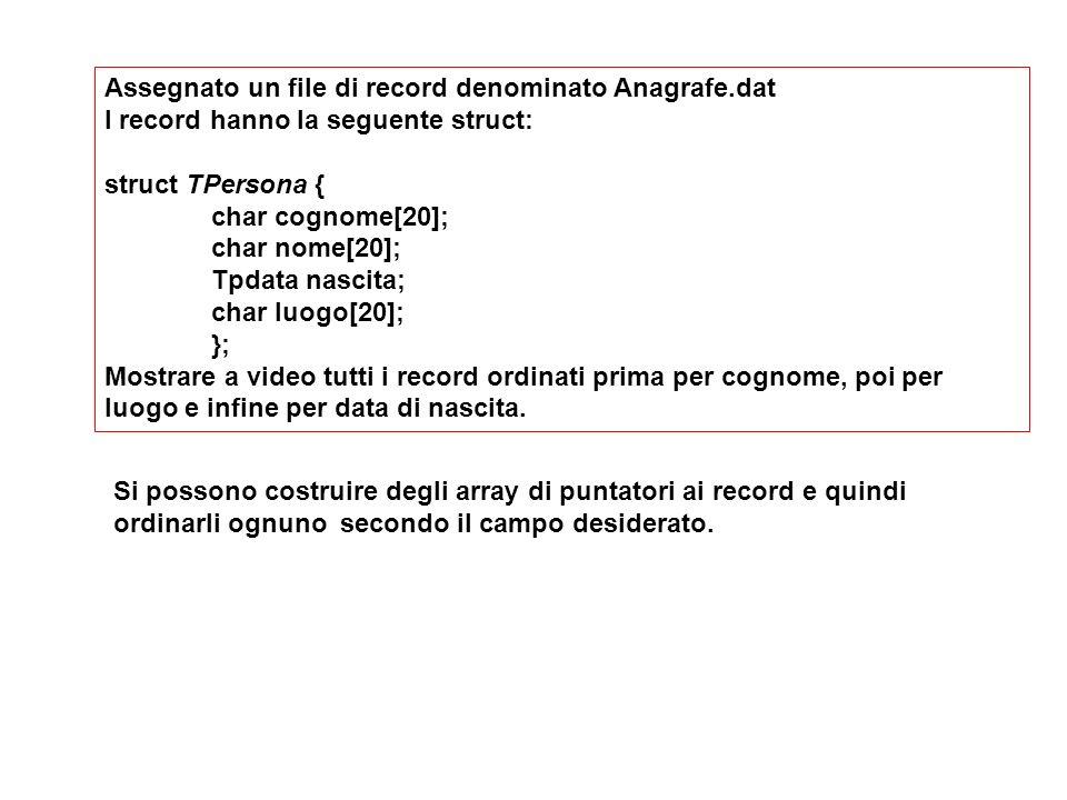 Assegnato un file di record denominato Anagrafe.dat I record hanno la seguente struct: struct TPersona { char cognome[20]; char nome[20]; Tpdata nascita; char luogo[20]; }; Mostrare a video tutti i record ordinati prima per cognome, poi per luogo e infine per data di nascita.
