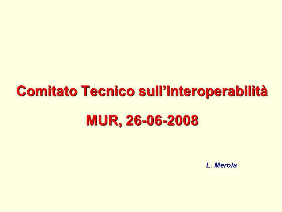 Comitato Tecnico sullInteroperabilità MUR, 26-06-2008 L. Merola