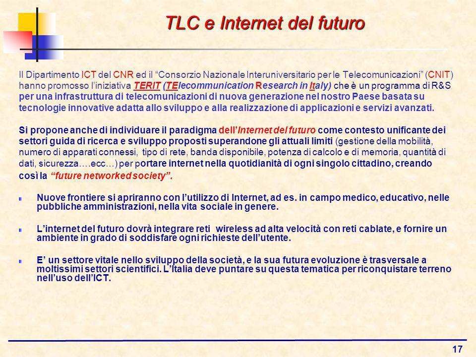 17 Il Dipartimento ICT del CNR ed il Consorzio Nazionale Interuniversitario per le Telecomunicazioni (CNIT) hanno promosso liniziativa TERIT (TElecommunication Research in Italy) che è un programma di R&S per una infrastruttura di telecomunicazioni di nuova generazione nel nostro Paese basata su tecnologie innovative adatta allo sviluppo e alla realizzazione di applicazioni e servizi avanzati.