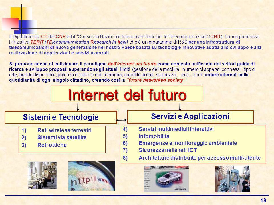 18 Internet del futuro Sistemi e Tecnologie 1)Reti wireless terrestri 2)Sistemi via satellite 3)Reti ottiche Servizi e Applicazioni 4)Servizi multimediali interattivi 5)Infomobilità 6)Emergenze e monitoraggio ambientale 7)Sicurezza nelle reti ICT 8)Architetture distribuite per accesso multi-utente Il Dipartimento ICT del CNR ed il Consorzio Nazionale Interuniversitario per le Telecomunicazioni (CNIT) hanno promosso liniziativa TERIT (TElecommunication Research in Italy) che è un programma di R&S per una infrastruttura di telecomunicazioni di nuova generazione nel nostro Paese basata su tecnologie innovative adatta allo sviluppo e alla realizzazione di applicazioni e servizi avanzati.
