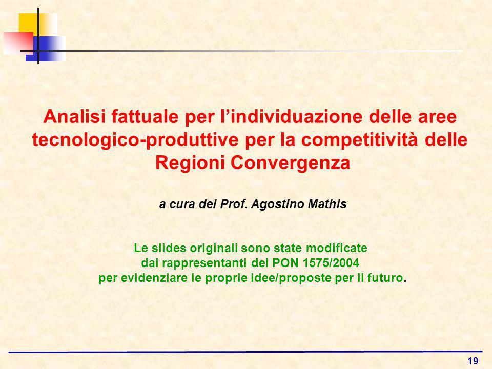 19 Analisi fattuale per lindividuazione delle aree tecnologico-produttive per la competitività delle Regioni Convergenza a cura del Prof.