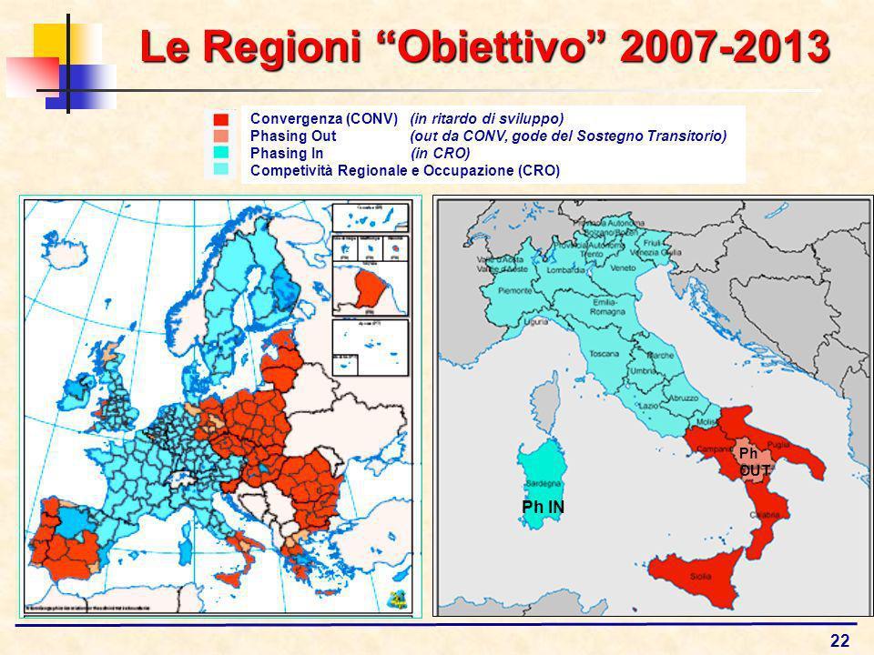 22 Le Regioni Obiettivo 2007-2013 Convergenza (CONV) (in ritardo di sviluppo) Phasing Out (out da CONV, gode del Sostegno Transitorio) Phasing In (in CRO) Competività Regionale e Occupazione (CRO) Ph IN Ph OUT