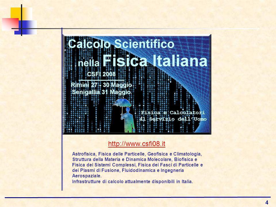 4 http://www.csfi08.it Astrofisica, Fisica delle Particelle, Geofisica e Climatologia, Struttura della Materia e Dinamica Molecolare, Biofisica e Fisica dei Sistemi Complessi, Fisica dei Fasci di Particelle e dei Plasmi di Fusione, Fluidodinamica e Ingegneria Aerospaziale.