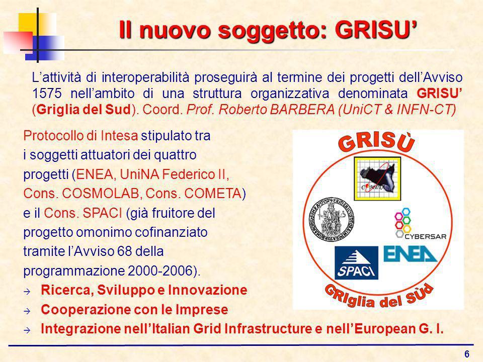 6 Il nuovo soggetto: GRISU Lattività di interoperabilità proseguirà al termine dei progetti dellAvviso 1575 nellambito di una struttura organizzativa denominata GRISU (Griglia del Sud).
