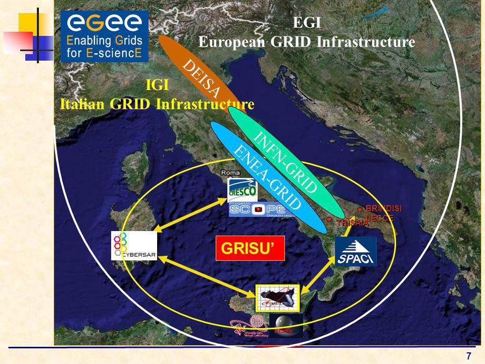 7 PORTICI BRINDISILECCE TRISAIA GRISU EGI European GRID Infrastructure DEISA IGI Italian GRID Infrastructure INFN-GRID ENEA-GRID