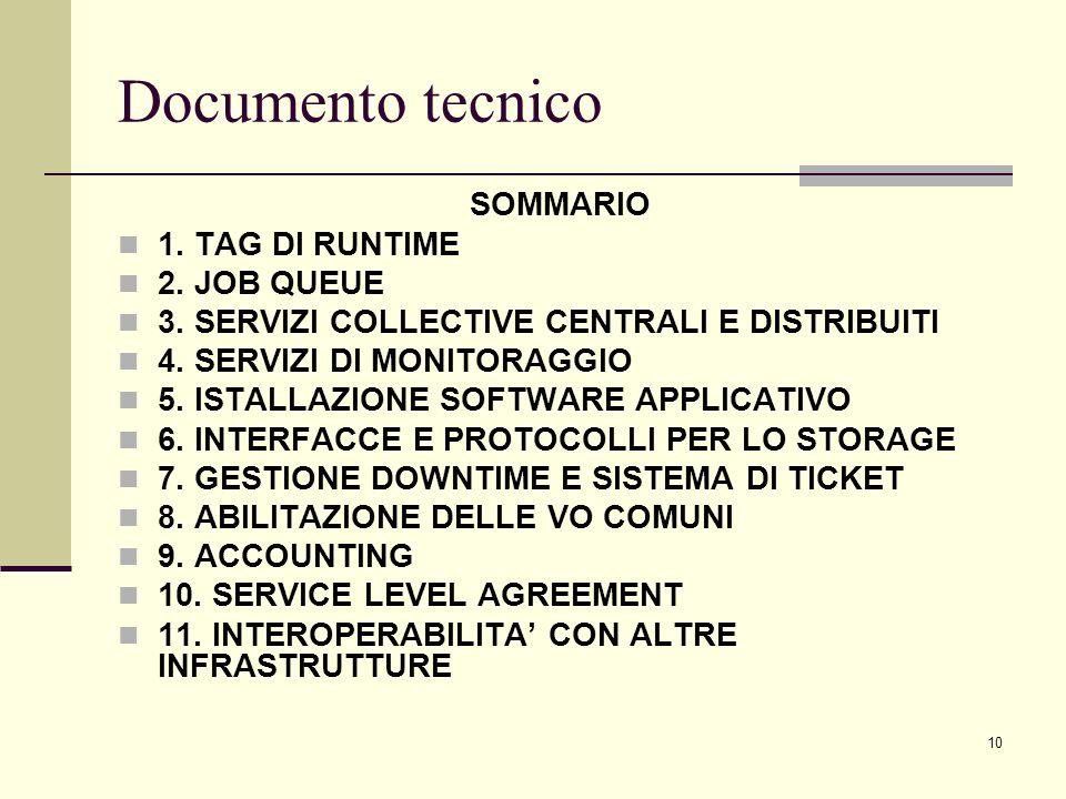 10 Documento tecnico SOMMARIO 1. TAG DI RUNTIME 2.