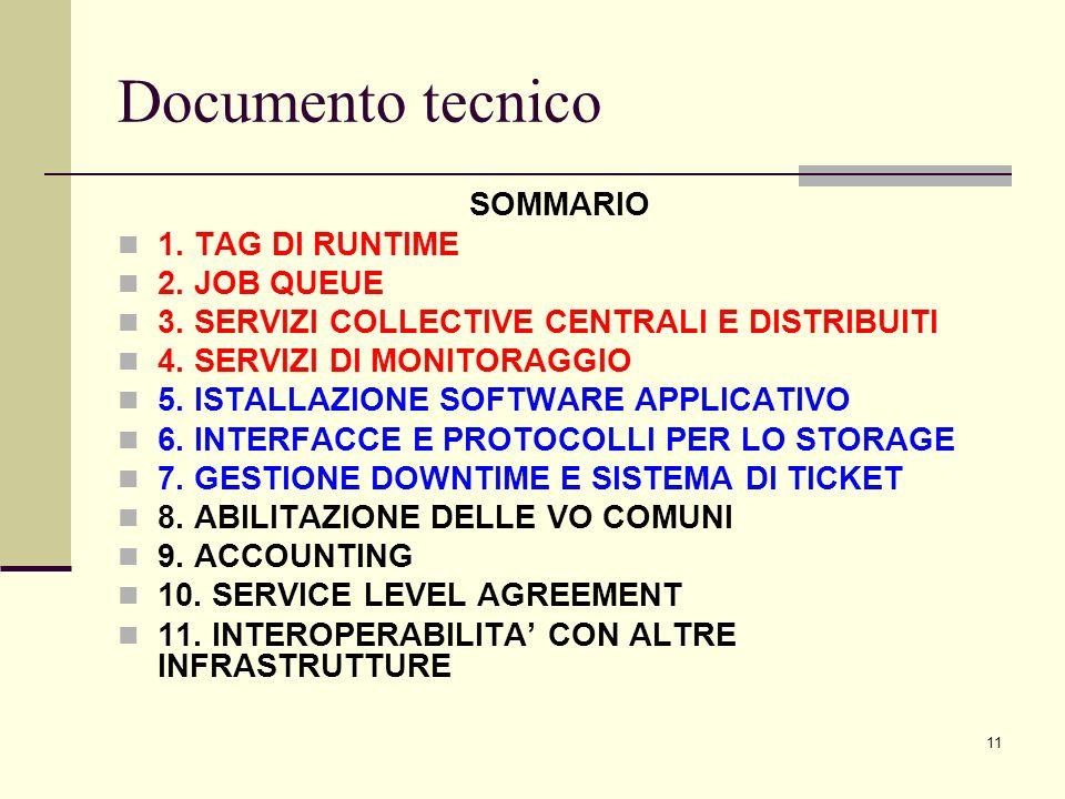 11 Documento tecnico SOMMARIO 1. TAG DI RUNTIME 2.