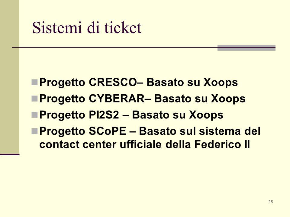 16 Sistemi di ticket Progetto CRESCO– Basato su Xoops Progetto CYBERAR– Basato su Xoops Progetto PI2S2 – Basato su Xoops Progetto SCoPE – Basato sul sistema del contact center ufficiale della Federico II