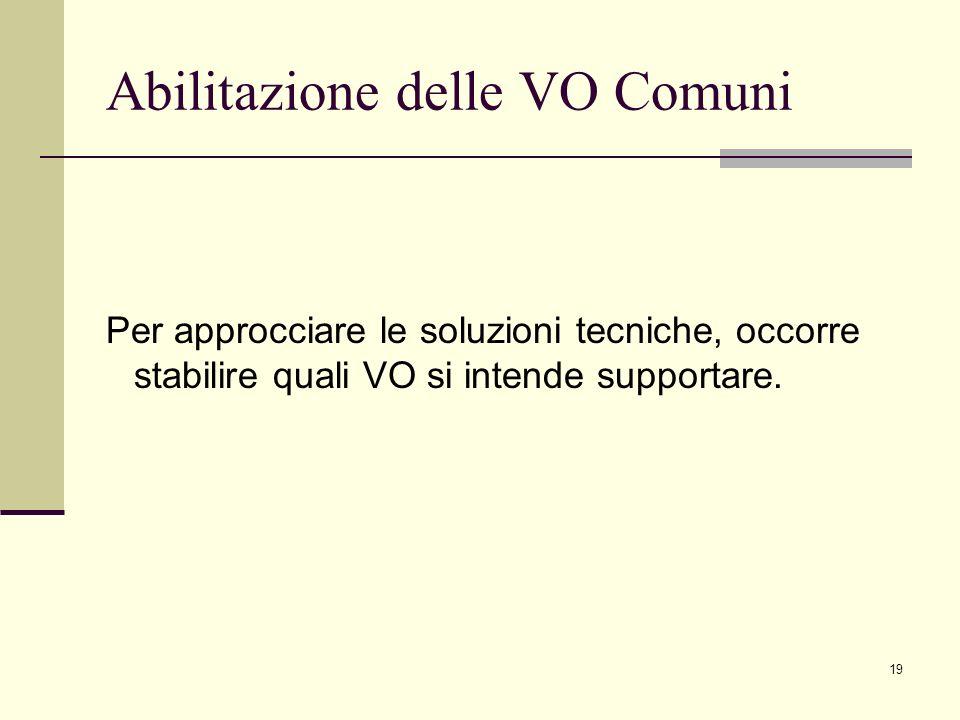 19 Abilitazione delle VO Comuni Per approcciare le soluzioni tecniche, occorre stabilire quali VO si intende supportare.