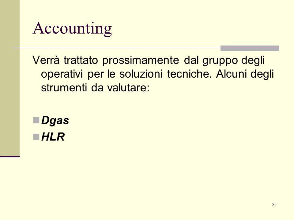 20 Accounting Verrà trattato prossimamente dal gruppo degli operativi per le soluzioni tecniche.