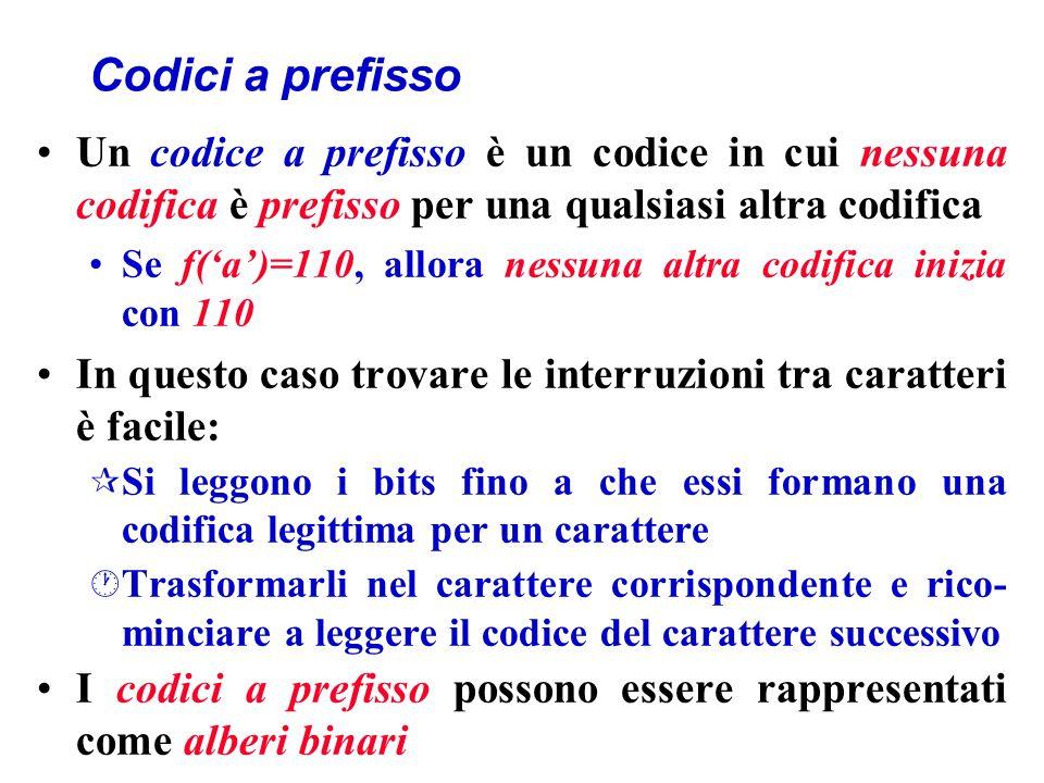 Codici a prefisso Un codice a prefisso è un codice in cui nessuna codifica è prefisso per una qualsiasi altra codifica Se f(a)=110, allora nessuna altra codifica inizia con 110 In questo caso trovare le interruzioni tra caratteri è facile: ¶ Si leggono i bits fino a che essi formano una codifica legittima per un carattere · Trasformarli nel carattere corrispondente e rico- minciare a leggere il codice del carattere successivo I codici a prefisso possono essere rappresentati come alberi binari