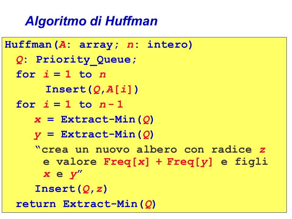 Algoritmo di Huffman Huffman(A: array; n: intero) Q: Priority_Queue; for i = 1 to n Insert(Q,A[i]) for i = 1 to n - 1 x = Extract-Min(Q) y = Extract-M