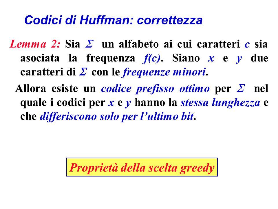 Codici di Huffman: correttezza Lemma 2: Sia un alfabeto ai cui caratteri c sia asociata la frequenza f(c).