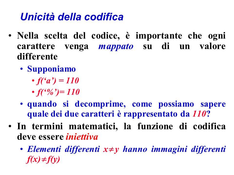 Unicità della codifica Nella scelta del codice, è importante che ogni carattere venga mappato su di un valore differente Supponiamo f(a) = 110 f(%)= 110 quando si decomprime, come possiamo sapere quale dei due caratteri è rappresentato da 110.