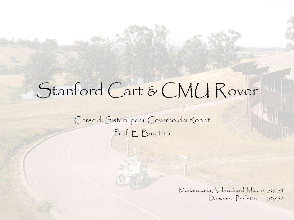 Giugno 2004Mariarosaria Ambrosino di Miccio – Domenico Perfetto2 Stanford Cart & CMU Rover Descrizione di Stanford Cart Esempi di esecuzione Discussione dei limiti e delle scelte progettuali Descrizione di CMU Rover Discussione sul progetto Idea di implementazione alternativa