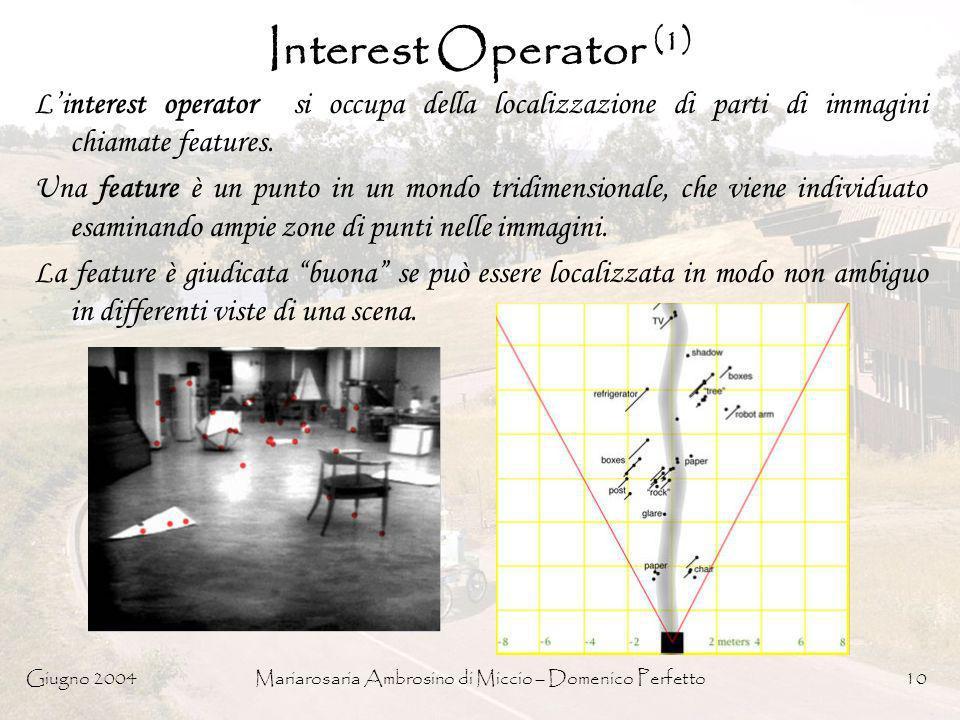 Giugno 2004Mariarosaria Ambrosino di Miccio – Domenico Perfetto10 Interest Operator (1) Linterest operator si occupa della localizzazione di parti di