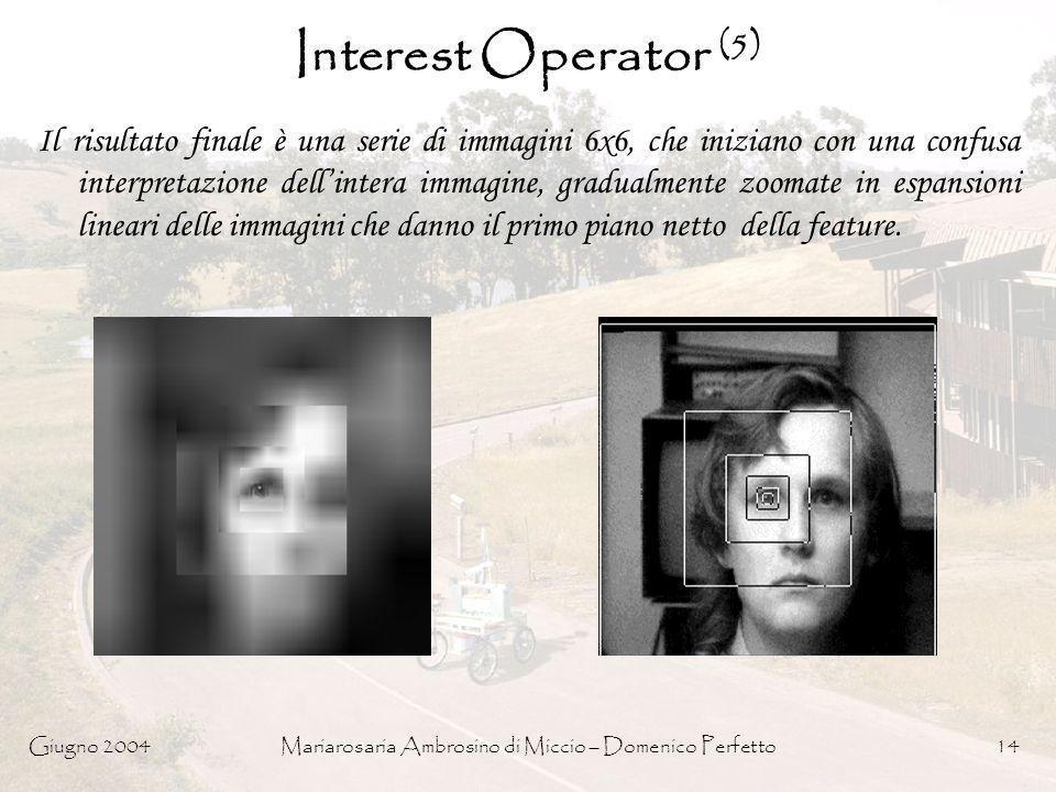 Giugno 2004Mariarosaria Ambrosino di Miccio – Domenico Perfetto14 Interest Operator (5) Il risultato finale è una serie di immagini 6x6, che iniziano