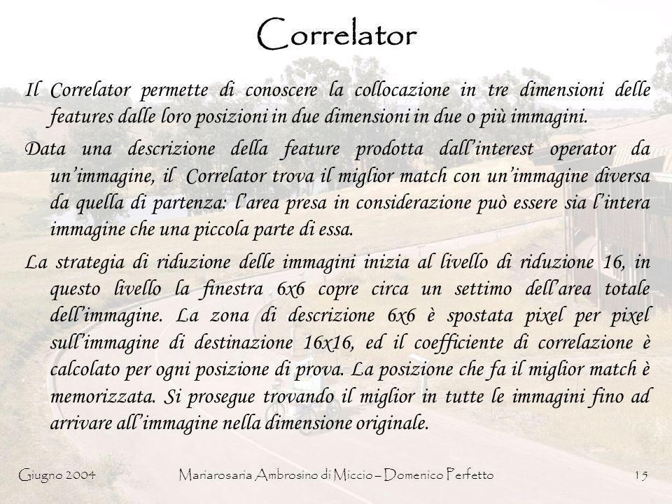 Giugno 2004Mariarosaria Ambrosino di Miccio – Domenico Perfetto15 Correlator Il Correlator permette di conoscere la collocazione in tre dimensioni del