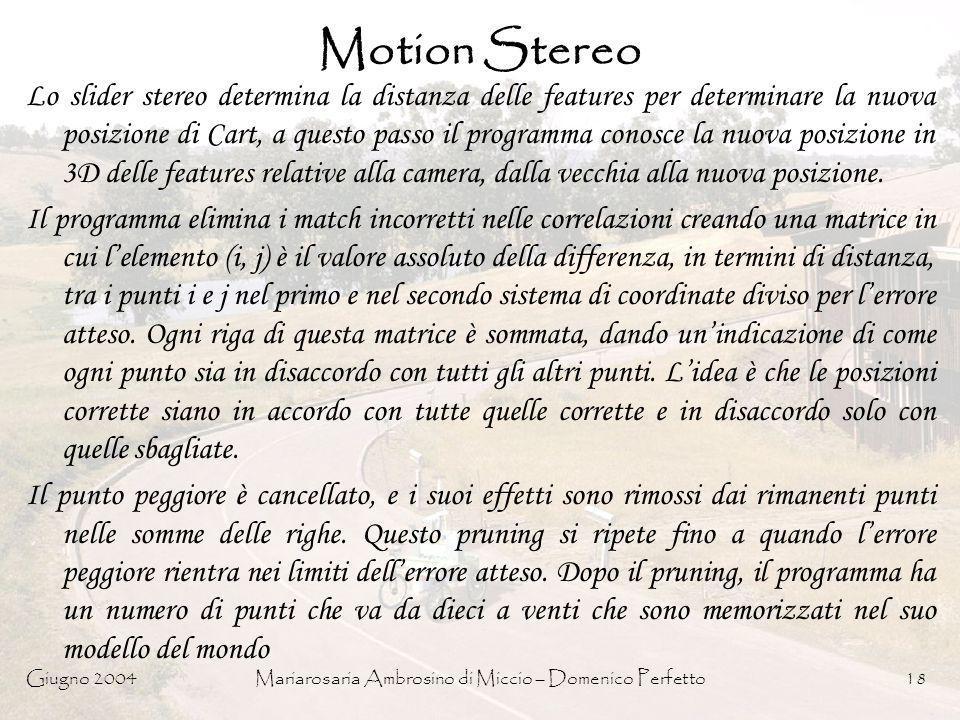 Giugno 2004Mariarosaria Ambrosino di Miccio – Domenico Perfetto18 Motion Stereo Lo slider stereo determina la distanza delle features per determinare