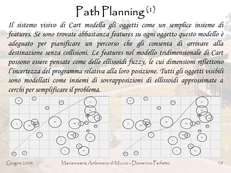 Giugno 2004Mariarosaria Ambrosino di Miccio – Domenico Perfetto19 Path Planning (1) Il sistemo visivo di Cart modella gli oggetti come un semplice ins