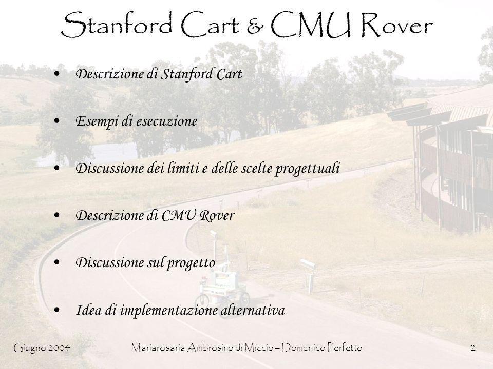 Giugno 2004Mariarosaria Ambrosino di Miccio – Domenico Perfetto2 Stanford Cart & CMU Rover Descrizione di Stanford Cart Esempi di esecuzione Discussio